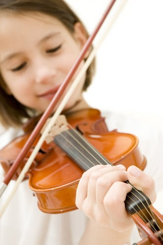 Girl learning to play the violin